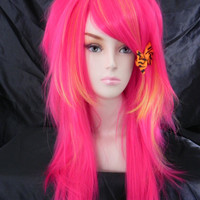 SHOP-WIDE SALE / Pink Lemonade / Hot Pink and Yellow/ Long Straight Layered Wig