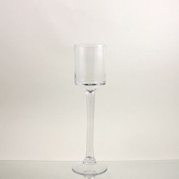 Tall Glass Cup Candle Holder Table Centerpiece, 16-Inch