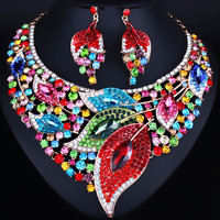 Wedding Jewelry 2017 Trend Color Crystal Rhinestones Big Leaf Necklace Earrings set for Bridal Fashion Jewelry set