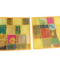2 Ethnic Yellow Cushion Cover Patchwork Embroidered Cotton Square Pillow Cases 16 x16