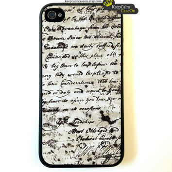 iPhone 4 Case, Vintage Paper iPhone Case Hard Fitted Case