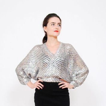 SALE . 30% OFF . 80s Sequin Sweater . Dolman Sleeves. Cut Out Jumper
