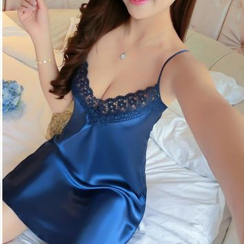 Ladies Sexy Silk Satin Night Dress Sexy Sleeveless Nighties V-neck Nightgown Nightdress Lace Shirt Sleepwear Nightwear For Women