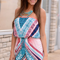 Time's Up Romper, Teal/Coral