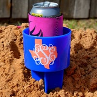 Personalized Monogram Beach Spike Beverage Cup Holder