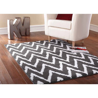 Walmart: Mainstays Distressed Zig Zag Cinder Area Rug, Gray/White