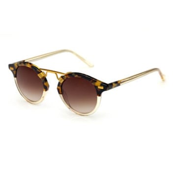 KREWE St. Louis Two-Tone Round Sunglasses, Champagne