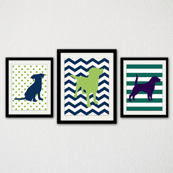 "Dog Nursery Print Set. Puppy. Dog. Baby Boy. Boys bedroom. Blue and Green. Animal. Stripes. Chevron. Polka Dots. 8.5x11"" Print"