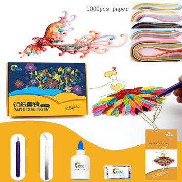 Children paper quilling toys with 1000pcs quilling paper/ Kids parents art craft DIY handemade paper folding toys for girls