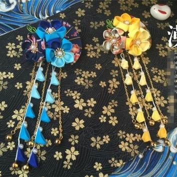 hand made hairpin cotton cloth hair clip barrettes Japanese kimono anime cosplay accessories original kimono fan