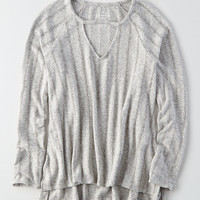AEO Soft & Sexy Plush Pointelle Sweater, Light Gray