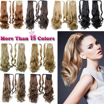 """22"""" Synthetic Hair Long Wavy Clip In Ribbon Ponytail Hair Extensions curly Hairpiece Fake Hair pony Tails ponytails hair pieces"""
