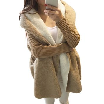 *online exclusive* hooded sherpa lined sweater cardigan coat