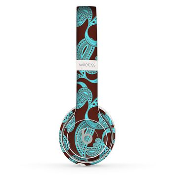 The Brown & Teal Paisley Pattern Skin Set for the Beats by Dre Solo 2 Wireless Headphones
