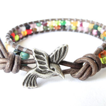 Hummingbird wrap bracelet, boho jewelry, bead bracelet with Japanese Miyuki seed beads