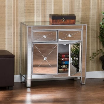 Set 2 GLAM MIRRORED MIRROR FURNITURE DRESSER BEDROOM CHEST OF DRAWERS NIGHTSTAND