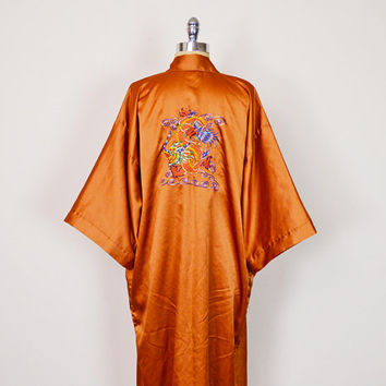 Vintage 70s Orange Chinese Asian Dragon Embroider Kimono Robe Kimono Jacket Kimono Sleeve Duster Jacket 70s Hippie Jacket Boho Jacket L XL
