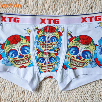 Skull short 100% cotton print underwear comfortable breathable male boxer panties Cool man boxer underwear free shipping