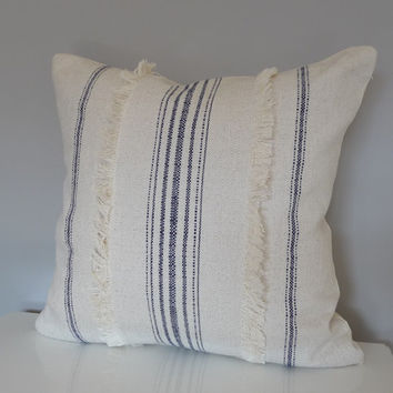 Decorative Pillow/French Country/Primitive Stripes/Navy Blue/Farmhouse/Home Decor/Pillow Cover/Handmade/Home Accessories