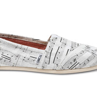 White Hemp Music Notes Women's Classics US