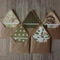 MIX - Christmas envelopes - set of 5 crafted small envelopes with cards - New Year - green grey rustic - brown envelope - europeanstreetteam