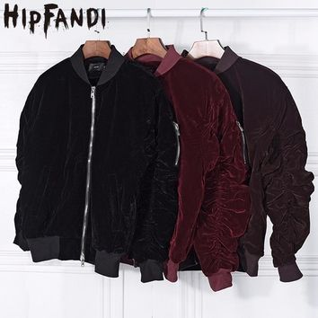 HIPFANDI 2017 fashion Kanye West Oversized Jackets Vintage Wine Red Velvet Fabric Pleated Sleeve Designer Bomber Jacket Coats