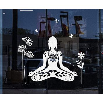 Window Signs and Wall Sticker Buddha Meditation Mantra Flower Butterfly Yoga Decal Unique Gift (z2892w)