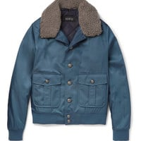 Gucci - Shearling-Trimmed Satin-Twill Bomber Jacket | MR PORTER