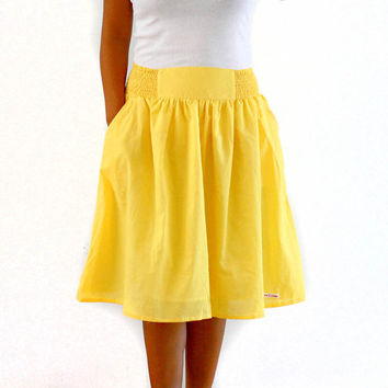 Midi Skirt in Sunshine Yellow, Bridesmaid Skirt, Spring / Summer Skirt