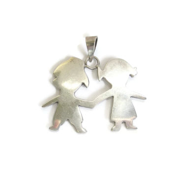 Mexican Sterling Children Holding Hands Pendant