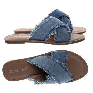 Leslie40 Light Blue Denim By Top Moda, Frayed Edge Jean Slip On Sandal, Women's Summer Slippers