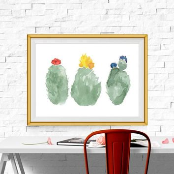 Cactus Print Succulent print Abstract Watercolor Cactus printable Cactus wall Decor Cactus and flowers art 5x7 8x10 16x20 INSTANT DOWNLOAD