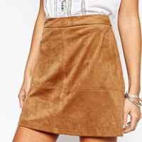 New Look Suedette A-Line Skirt at asos.com