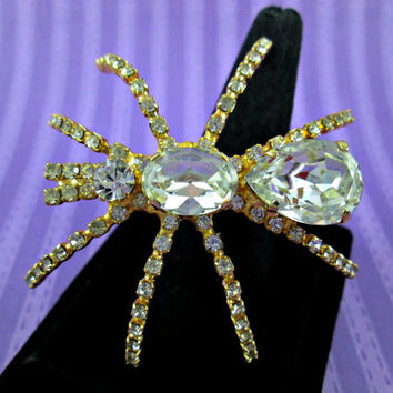 SALE Vintage Spider Brooch Gold Metal Bright Clear Glass Rhinestones Big Bold Sparkling Nice Condition Addition to Your Collection