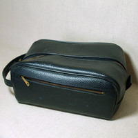 OLD SCHOOL GROOMING Toiletry Bag Mens Vintage Black Shaving Kit Bag Zippered Compartment Pouch with Strap Handle