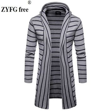 Winter Men's Casual Thick sweater Men Hooded Sweater Coat jacket striped color Fashion slim fit Stitching Cardigan knitwear