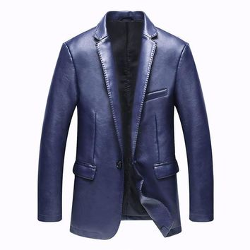 Blazer Leather Jackets for Men PU Blazer Slim Fit Blue Black Camel Slim Pu Leather Suit Jackets Men's Waterproof Blazer Coats