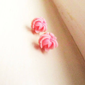 Hot Pink Floral Stud Earrings -Flower Earring Post-Little Tiny Cabbage Rose Posts- Great gift for the holiday , 4tasteofshabbychic
