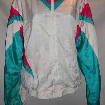 Vintage 80s 90s Neon Pink Teal White Colorblock Color Block Windbreaker Jacket Size Large Olympic Exposure