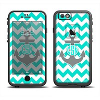 The Teal Green and Gray Monogram Anchor on Teal Chevron Apple iPhone 6/6s LifeProof Fre Case Skin Set