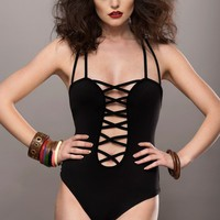 BLACK CAGED LOOK STRAPPY ONE-PIECE SWIMSUIT
