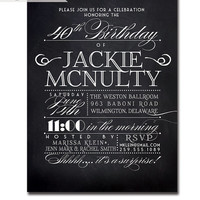 Chalkboard Birthday Party Invitation Vintage Rustic Black White Blackboard Typography Poster Printable Digital or Printed - Jackie Style