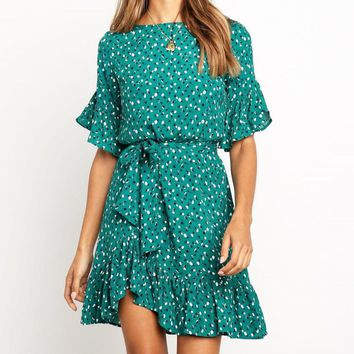 Fashion New wave point print short sleeve dress green