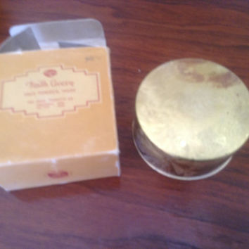 Faith Avery face powder by The Zarnol Co Cincinati, OH. Art Deco brass top vintage compact powder in original box.