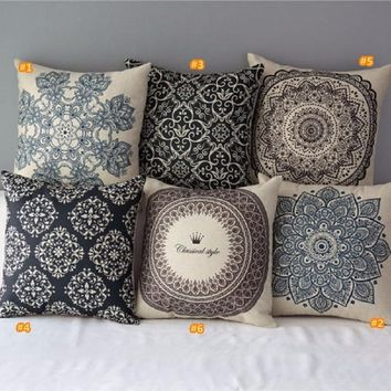 Fashion Vintage Floral Cotton Linen Bed Sofa Throw Pillow Case Cover Bed Sofa Cushion Cover Bedroom Accessories Home Decor(Pillo
