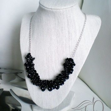 Black Beaded Necklace Black Statement Necklace Black Chunky Necklace Black Bubble Necklace Black Rondelle Beads Wedding Jewelry