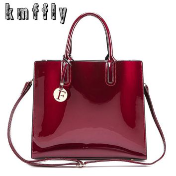 KMFFLY Bright Surface PU Leather Bags Luxury Women Designer Handbags High Quality Brand Solid Shoulder Bag Ladies Hand Bags Sac
