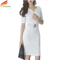 Hot Sale 2017 Summer White Striped Office Pencil Dress Women Sexy V-Neck Sheath Bodycon Dresses Femme OL Work Vestidos