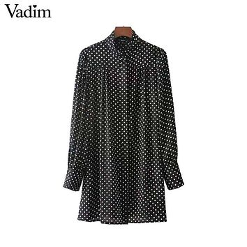 Vadim women cute polka dots long shirts long sleeve stand collar pleated blouses vintage ladies fashion tops blusas LT2406