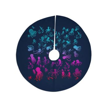 """Frederic Levy-Hadida """"Octocrowdy"""" Blue Pink Digital Christmas Tree Skirt"""